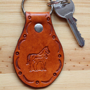 Horse Keychain, Mare and Foal Key Fob, Horse Keyring, Choice of Brown or Natural Hand Tooled Leather Key Fob, Handmade Leather Keychains