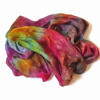 OOAK Silk Scarf thin ruffled Hand Dyed Queen of dreams thin Raspberry Ocher Blue-green Green New design