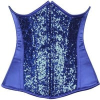 Daisy Corsets Top Drawer Royal Blue Sequin Steel Boned Under Bust Corset