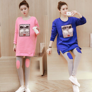 Autumn and winter are the new Korean women pregnant women pregnant women shirt + suit cartoon loose abdominal pants 8M220
