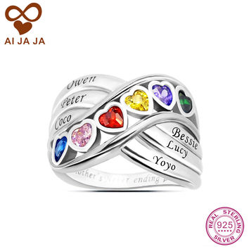 AIJAJA Personalized 925 Sterling Silver Family Heart Stone Mother Rings Customized up to 6 Name Engraved & Birthstones Mom Rings