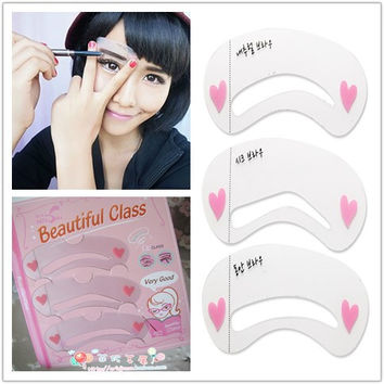 3pcs/lot  Brow Painted Eyebrow Pencil Stencils Model 4pcs Styles Template Stencil for Eye Eyebrow Free Shipping
