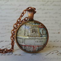 Old Paris Map, glass dome necklace, round glass pendant, gift idea, hostess gift, party favor, stocking stuffer, Seine River, Travel Gift