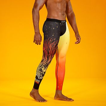 Breath Fire Black Orange Tights for Men