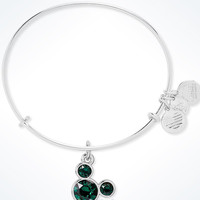 Disney Mickey Mouse Birthstone Bangle by Alex and Ani May Silver Finish New