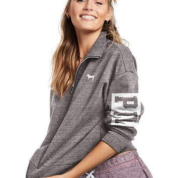 Slouchy Quarter-Zip - PINK - Victoria's Secret