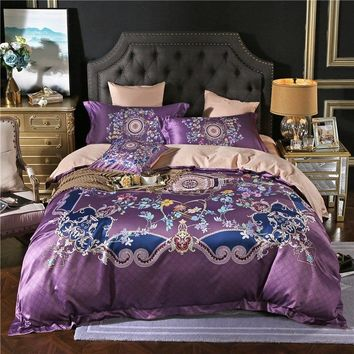 Tencel Cotton Silk Bedding Set Queen King size 3D Boho Bed set Bed Duvet Cover Bed Sheet set Pillowcases soft Bedclothes