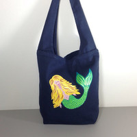 Hobo Purse with Hand Painted Mermaid