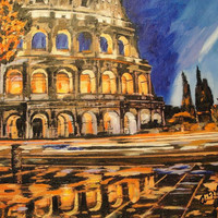 ORIGINAL ABSTRACT Painting Colosseum City at night ROME Italy Europe 36 x 24 Large Contemporary Cityscape Fine Art Painting on Canvas