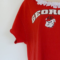 Vintage Georgia Bulldogs T-Shirt Off the Shoulder T-shirt