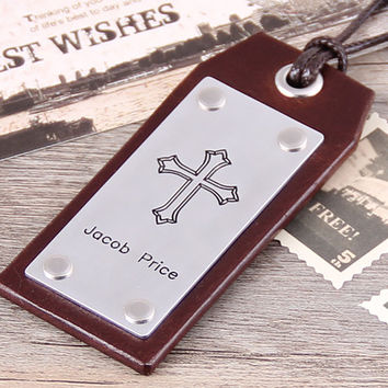Personalized Leather Luggage Tag -  Handmade Leather Travel Tag - Anniversary, Groomsmen, Wedding Luggage Tag