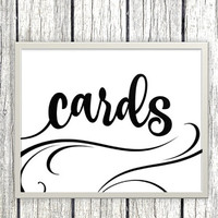Printable cards Sign for wedding or event - card box classic elegant swirly black and white printable download - download and print today