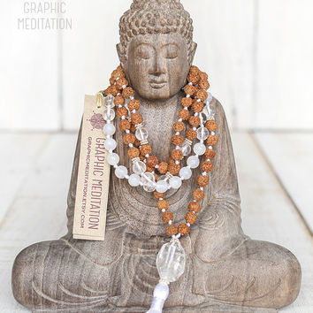 Moonstone mala, Yoga mala, Rudraksha and crystal 108 mala beads, Meditation beads, Third eye chakra hand knotted mala, Fertility necklace