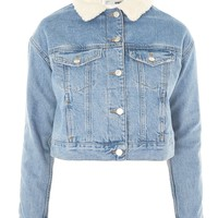 MOTO Fitted Borg Denim Jacket | Topshop