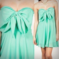 Pretty Mint Bow Tube Dress Mini Peasant Pixie Boho Chic Aqua Fashion Love Dress