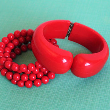 Vintage Red Plastic Clamper & Beaded Coil Bracelet