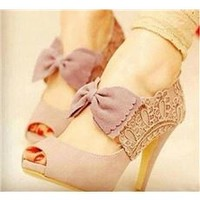 New Pink Sweet Bowknot Peep-toe Lace Flowers Roman Sandals