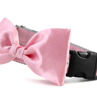 Pink Dog Bow Tie Collar - Bubblegum Pink Bow Tie Dog Collar - Wedding Attire for Dogs - Pink satin dog bow tie - Pink Dog Bow Tie