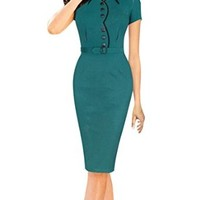 Senfloco Women's Vintage Green Office Business Church Party Tunic Pencil Dress