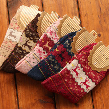 Women's 5 Pair Pack Vintage Style Wool Cotton Crew Socks Winter Spring Warm Gift-56