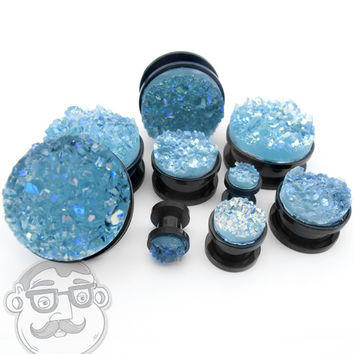 Black Steel Plugs With Aqua Blue Druzy Stone Inlay