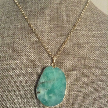Chrysoprase Necklace Oval Apple Green Chrysoprase Gemstone Pendant With Chain Gold Colored Chain