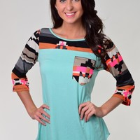 Cezanne Mint Green Top with Aztec Print and Pocket