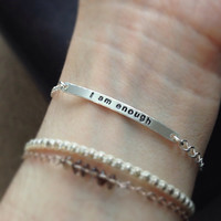 Sterling Silver Quote Bracelet - - Custom Hand Stamped with Freshwater Pearl