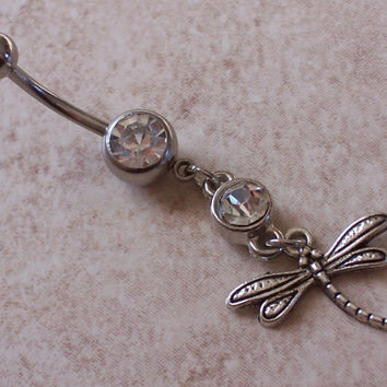 Dragon Fly Belly Ring  Navel Ring 14ga Surgical Steel