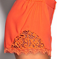 Lace-Trimmed Neon Shorts