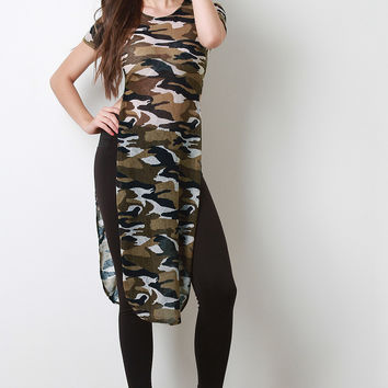 Camouflage Print Double High-Slit Top