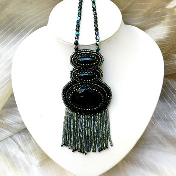 Black Widow ooak bead embroidery statement pendant necklace with natural black onyx agate and sparkling crystals