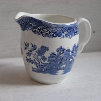North Staffordshare Pottery Co. Ltd. Willow Cream Jug, England, Blue and White transferware pitcher
