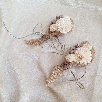 Cream Rustic Wedding Corsage Mother Of Bride Groom Boutonniere Sola Flower