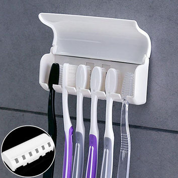 Home Bathroom Toothbrush Suction Holder Rack Wall Mount Hang Stand New Family Tooth Brush Storage High Quality