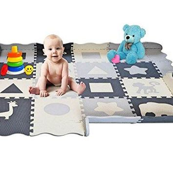 "Soft Foam Baby Play Mat - Interlocking Floor Tiles, Extra Thick (0.80"") 