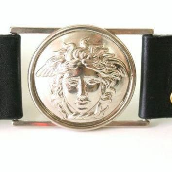 CREY1O Authentic Gianni Versace Italy Medusa Leather vintage Belt