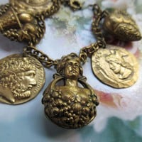 Vintage Puffy Brass Chunky Charm Bracelet Hearts Egyptian Revival