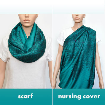 Green Emerald Infinity Scarf with floral pattern / Nursing Cover