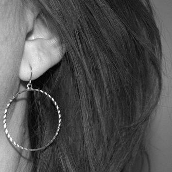 dangle hoop earrings, small hoops, dangle hoops, silver circle earrings, everyday simple jewelry, circle dangles