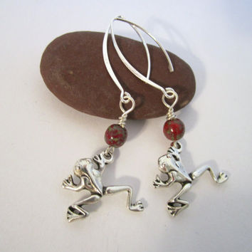 Frog Earrings - Antique Silver by 636designs