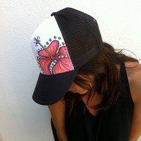 Hand Painted  -Trucker Hat - ADULT