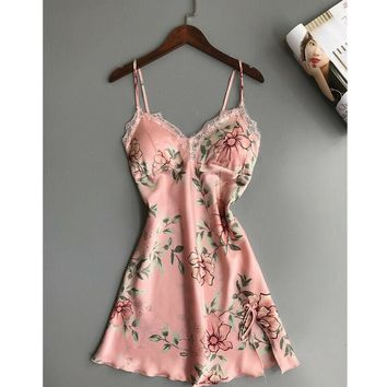 Floral Satin Silk Lace Lingerie Pajamas NightGown