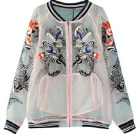 White Koi Fish Embroidery Sheer Gauze Bomber Jacket