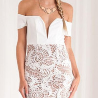 White Strapless Plunge Lace Panel Short Sleeve Bodycon Dress