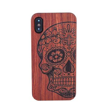 Retro Flower Carving Wood + PC Phone Case For iPhone X Natural Wooden Hard Case Back Cover For iPhone 10 X Mobile Phone Shell