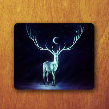 Deer Dark night Mouse Pad Beautiful Animal Hipster Office Desk Decoration Gift Boss Gift