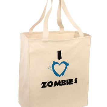 I Heart Zombies - Bloody Heart Blue Large Grocery Tote Bag