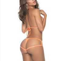Sexy Wet Orange Cage Style Glow in the Dark Thong Bikini Bottom (Many Colors Available)