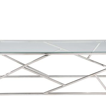 Baxton Studio Fiona Modern and Contemporary Stainless Steel Coffee Table with Tempered Glass Top Set of 1